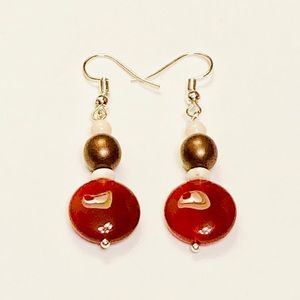 Hessonite & Brown Satin Pearl Earrings